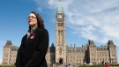 Nathalie Provost, survivor of the Montreal Massacre at l'École Polytechnique, at a small commemorative ceremony in memory of the 14 victims on Parliament Hill in Ottawa on Thursday May 6, 2010. (THE CANADIAN PRESS/Sean Kilpatrick)