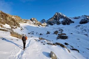 A hiker is shown on the Grossglockner mountain on Oct. 8, 2008. (AP / Kerstin Joensson)