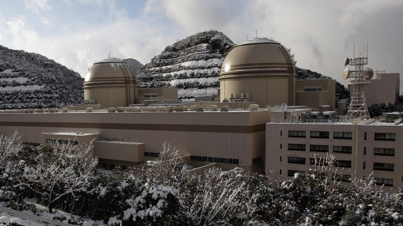 "In this Jan. 26, 2012 file photo, Kansai Electric Power Co's Ohi nuclear power plant No. 3, right, and No. 4 reactors are seen in Ohi, Fukui prefecture, western Japan, as experts from the International Atomic Energy Agency conduct their first inspection of the Japanese nuclear power plant that has undergone official ""stress tests,"" a key step required to restart dozens of nuclear plants idled in the wake of the Fukushima crisis."