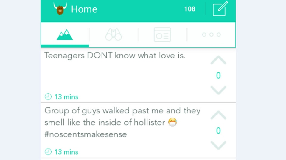 An example of a Yik Yak message feed.