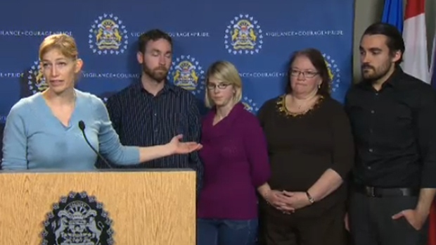 Family members of Shannon Madill-Burgess, including her husband Joshua (far right), addressed the media in December 2014
