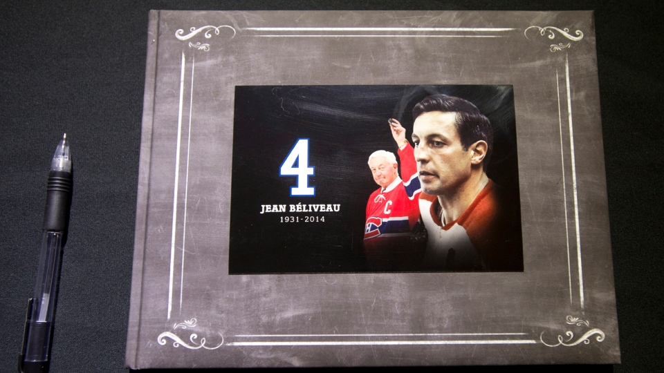A book of condolence for Jean Beliveau sits in front of the Bell Center Wednesday, Dec. 3, 2014 in Montreal. (Ryan Remiorz / THE CANADIAN PRESS)