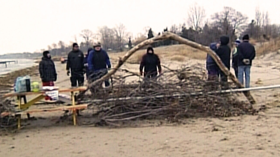 A barricade was mounted by a landowner on Ipperwash Beach in Ontario, Dec. 6, 2014.