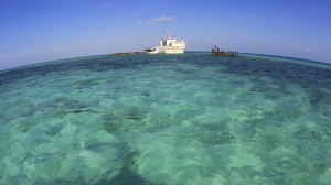 This April 7, 2010 photo released by China's Xinhua news agency on Friday April 23, 2010, shows a naval base constructed on the cay of Nansha islands, South China Sea. The Nansha Islands are also known as the Spratlys. (AP Photo/Xinhua, Zha Chunming)