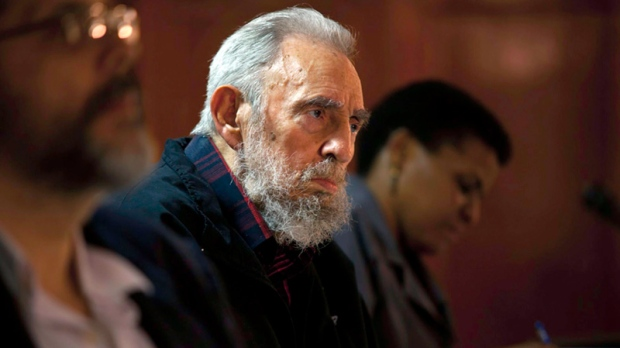 Fidel Castro attends a meeting with intellectuals and writers at the International Book Fair in Havana, Cuba, Friday, Feb. 10 2012. (AP / Cubadebate, Roberto Chile)