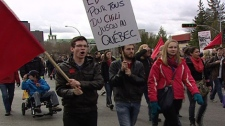 Students in West Quebec protested against proposed hikes to tuition fees in the province April 10, 2012.