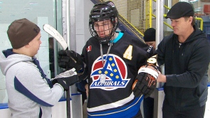 Teen hockey player Ben Fox returned to the ice rink four months after suffering a severe stroke.