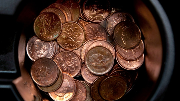 penny; pennies; coins; royal canadian mint