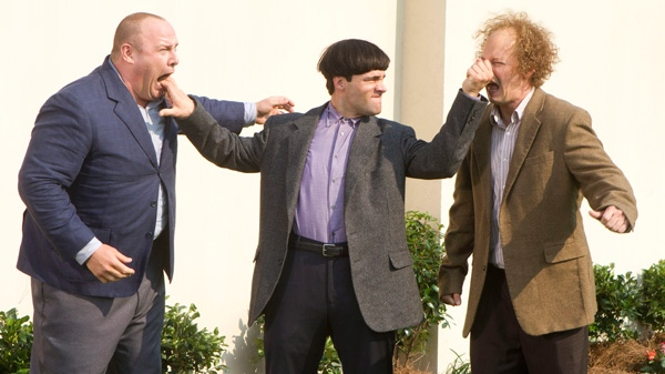 Will Sasso, Chris Diamantopoulos, and Sean Hayes are shown in a scene from 20th Century Fox's 'The Three Stooges.'