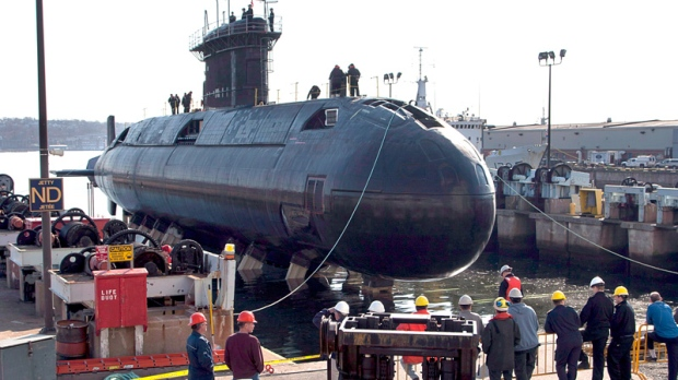 HMCS Windsor, one of Canada's four Victoria-class submarines, is returned to the waters of Halifax harbour after a five-year refit, in Halifax on Wednesday, April 11, 2012. (Andrew Vaughan / THE CANADIAN PRESS)