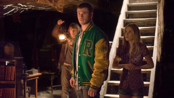 Fran Kranz, Chris Hemsworth and Anna Hutchison are shown in a scene from Alliance Atlantis's 'The Cabin in the Woods.'