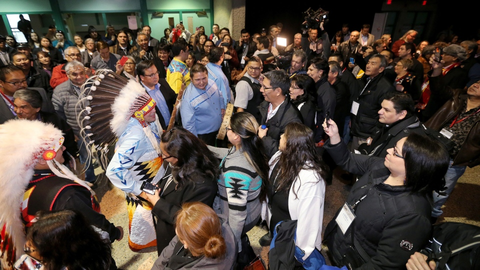 Newly-elected national chief Perry Bellegarde meets with supporters after winning on the first ballot at the Assembly of First Nations Election in Winnipeg on Wednesday, Dec. 10, 2014. (Trevor Hagan / THE CANADIAN PRESS)