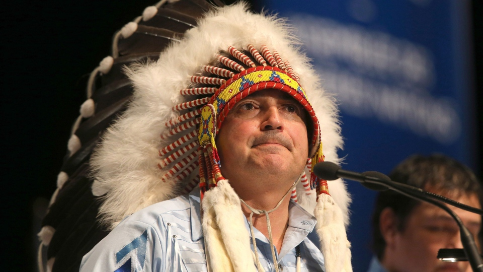 National chief Perry Bellegarde speaks after being elected on the first ballot at the Assembly of First Nations Election in Winnipeg on Wednesday, Dec. 10, 2014. (Trevor Hagan / THE CANADIAN PRESS)