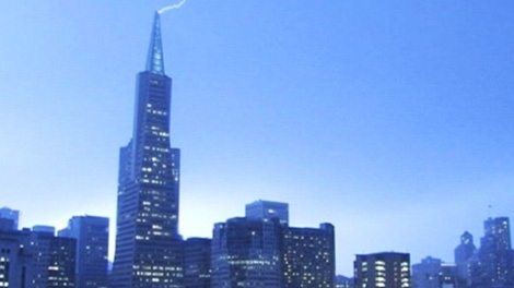 A lightning strike lights up the sky over San Francisco on Thursday, April 12, 2012.