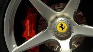 Ferrari logo on a wheel in Maranello, Italy, on May 8, 2013. (AP / Marco Vasini)