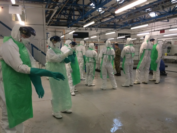 Members of the Canadian Forces medical team train in York, before joining the U.K.'s Operation Gritrock to combat Ebola in Sierra Leone. (Daniele Hamamdjian/CTV News)