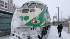 Go Train covered in snow