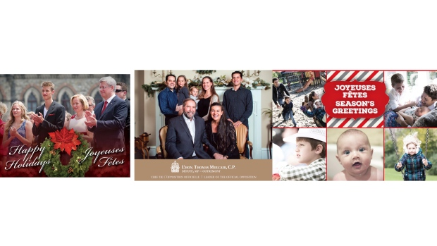 The Christmas cards of the three political party leaders (left to right) Stephen Harper, Thomas Mulcair and Justin Trudeau are shown in a handout photo. (THE CANADIAN PRESS)