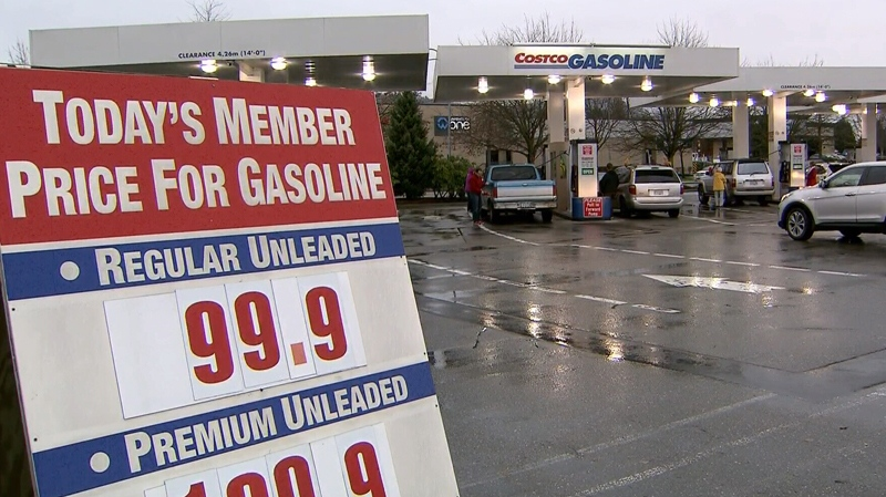 Costco members in Abbotsford, B.C. could buy gas for less than $1 per litre on Thursday. Dec. 11, 2014. (CTV)