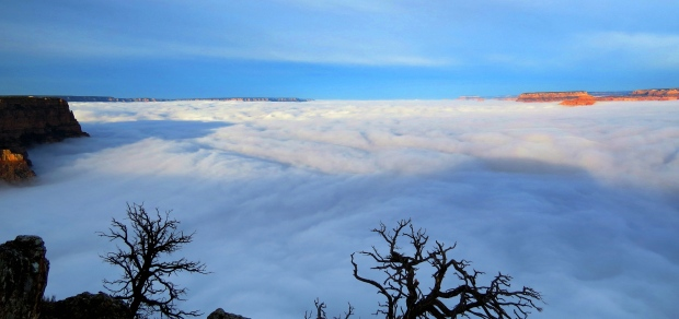 Inverted clouds fill Grand Canyon in rare weather event