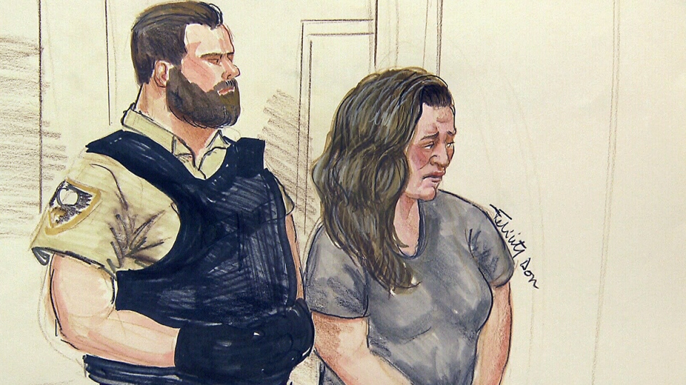 Lisa Batstone is shown in a Surrey, B.C. courtroom on Thursday, Dec. 11, 2014, in a court sketch. (Felicity Don / THE CANADIAN PRESS)