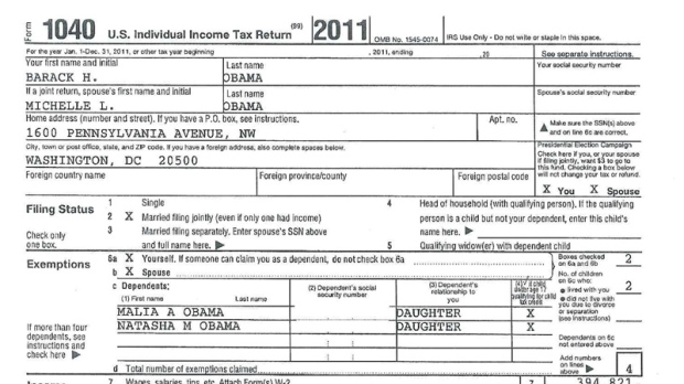 The front page of U.S. President Barack Obama and first lady Michelle Obama's tax return. Click view larger size to see what the U.S. president reported adjusted gross income of  fo 2011. (White House)