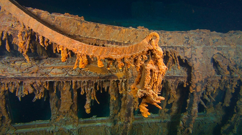 This photo August 2010 provided by RMS Titanic Inc., shows CThe last davit remaining on the wreck of RMS Titanic. (AP / RMS Titanic Inc.)