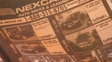 An ad for Nexcar Auto in Toronto advertises four Honda Civics for sale. When W5 visited the business only days after the ad ran, the cars were nowhere to be seen. The ads then continued to run for weeks showing the same vehicles.