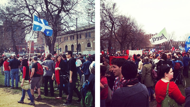 An estimated 5,000 demonstrators congregated at Jeanne Mance Park Saturday for a march against tuition hikes. (Photo: Kevin Gallagher)