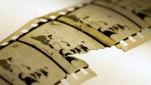 A handout photo shows a restored copy of the animated short film dated 1927 'Empty Socks' from Walt Disney Christmas series Oswald the Lucky Rabbit. (National Library of Norway / Martin Weiss)