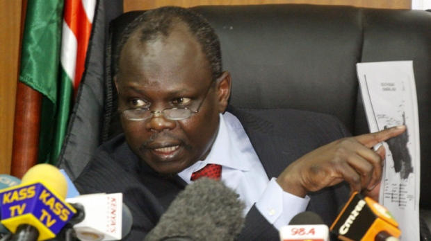Secretary general of the Sudan People's Liberation Movement, and Chief Negotiator of southern Sudan Pagan Amum speaks during a press conference in Nairobi Kenya, Friday April 13, 2012. (AP Photo/Khalil Senosi)