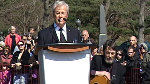 Actor Gordon Pinsent speaks at a memorial service at Fairview Lawn Cemetery to mark the 100th anniversary of the sinking of RMS Titanic in Halifax on Sunday, April 15, 2012.