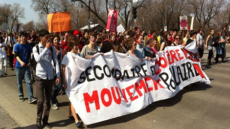 Anti-tuition protests continued Sunday in Montreal (CTV Montreal/Marc Doucette)