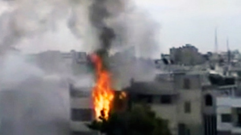 In this image made from amateur video released by the Shaam News Network and accessed Sunday, April 15, 2012 (AP)