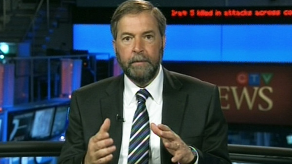 NDP Leader Thomas Mulcair speaks with CTV's Question Period on Sunday, April 15, 2012.