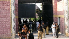 Pakistani security officials visit the central jail in Bannu, 170 kilometer (106 miles) south of Peshawar, Pakistan, on Sunday, April 15, 2012. (AP / Ijaz Muhammad)