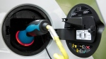 An electric plug charges a Smart Car electric drive vehicle in New York on July 14, 2010. (AP / Mark Lennihan)