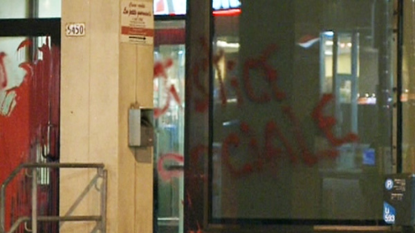 Police in Montreal are investigating several cases of vandalism that targeted mainly Quebec government offices early Monday, April 16, 2012.
