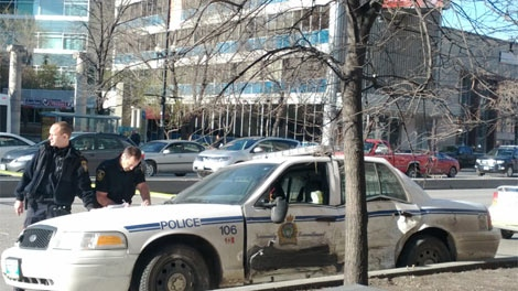 A police vehicle was involved in a crash in downtown Winnipeg on April 16, 2012.