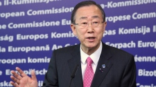U.N. Secretary-General Ban Ki-moon addresses the media on the situation in Syria, at the European Commission headquarters in Brussels, Monday, April 16, 2012. (AP / Yves Logghe)