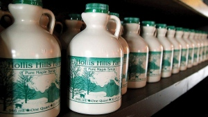 Bottles of farm-produced maple syrup in Fitchburg, Mass., on March 26, 2014. (AP / Fitchburg Sentinel & Enterprise, John Love)