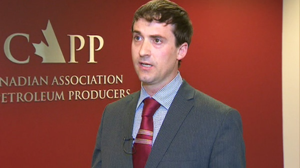 Travis Davies of the Canadian Association of Petroleum Producers is seen speaking with CTV News.