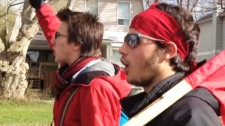 Dozens of students poured into Gatineau's streets chanting and holding signs protesting university tuition hikes Tuesday, April 17, 2012.