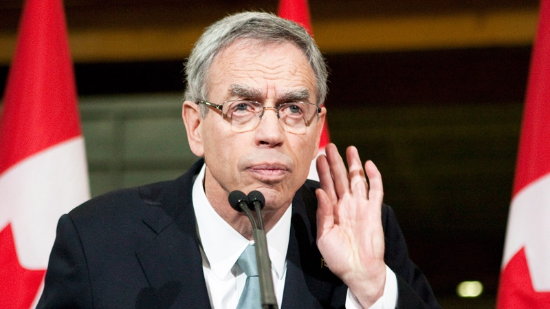 Natural Resources Minister Joe Oliver takes a question during a press conference at a factory in Scarborough, Ont., Tuesday April 17, 2012. (Chris Young / THE CANADIAN PRESS)