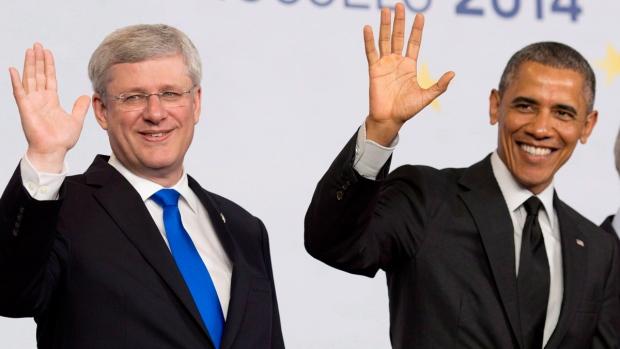 Harper and Obama in Brussels