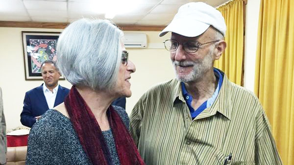 Alan Gross with his wife Judy before leaving Cuba, Wednesday, Dec. 17, 2014. (AP / Sen. Jeff Flake)