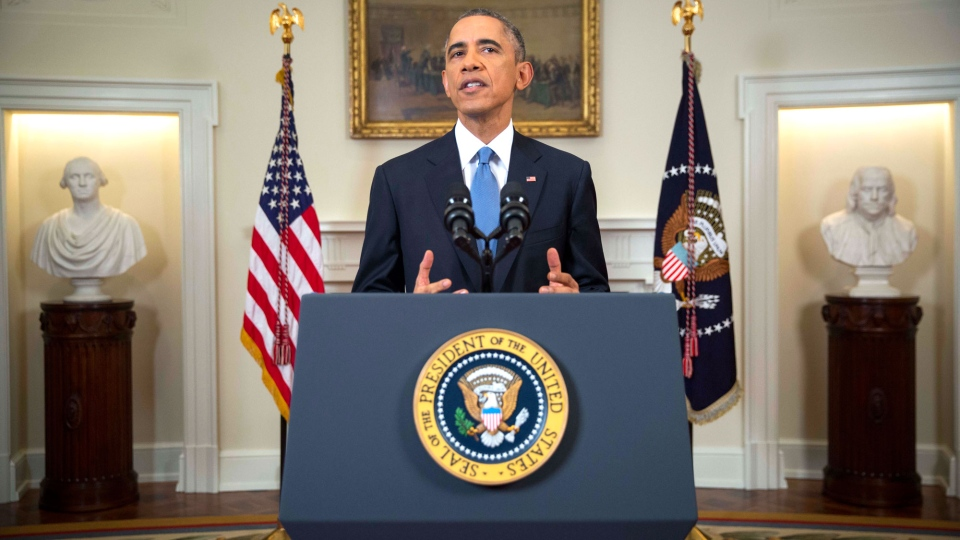 U.S. President Barack speaks in the Cabinet Room of the White House in Washington, Wednesday, Dec. 17, 2014, to announce the U.S. will end its 'outdated approach' to Cuba that has failed to advance U.S. interests. (AP / Doug Mills)
