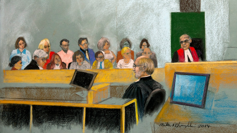 An artist's sketch shows Quebec Superior Court Justice Guy Cournoyer instructing the jury at the murder trial for Luka Rocco Magnotta, Monday, Dec. 15, 2014 in Montreal. Magnotta is charged in connection with the death and dismemberment of university student Jun Lin in a case that made international headlines. THE CANADIAN PRESS/Mike McLaughlin