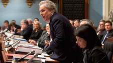 Quebec Premier Jean Charest responds to Opposition questions over negotiations with students on strike over tuition hikes at the legislature in Quebec City, Tuesday, April 17, 2012. (Jacques Boissinot / THE CANADIAN PRESS)