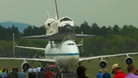 Space shuttle Discovery is seen shortly after it landed at Washington Dulles International Airport on Tuesday, April 17, 2012.